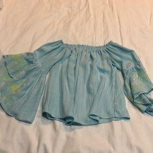 Off the shoulder cotton long sleeve shirt